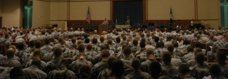 Soldiers-in-training worshippng at Fort Leonard Wood, Missouri